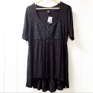 Torrid Tunic Top Black Embroidered Lace 0